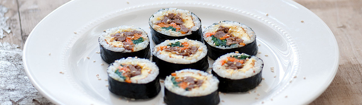 Modern Sushi with Beef Steak or Roast